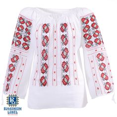 $151.22 A 100% hand made traditional blouse, exclusively tailored out of natural materials, such as white cotton, red and black silk embroidery. Black Silk, Natural Materials, White Cotton, Label, Blouses, Traditional, Embroidery, Long Sleeve, Red