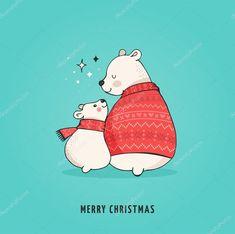 Скачать - Рисованной Полярный медведь, милый медведь набор, мать и ребенок медведи, пара медведей. Веселые рождественские поздравления с мишками — стоковая иллюстрация #127044366