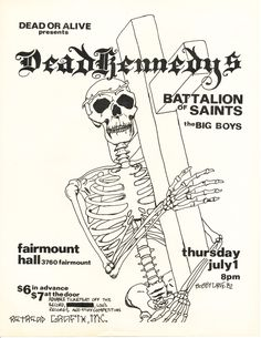 Dead Kennedys, Battalion of Saints, and the Big Boys Rock Poster, New Poster, Love Posters, Band Posters, Dead Kennedys, New Flyer, Punk Rock Fashion, Concert Posters, Art Tips