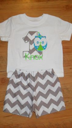 Boutique First Birthday Boy Owl Applique by doodlebugdesigns34, $45.00