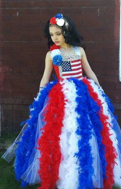 American flag of July Tutu dress, patriotic pageant dress,feather tutu dress,National p Patriotic Costumes, Patriotic Clothing, Halloween Costumes, Fairy Costumes, Little Girl Dresses, Girls Dresses, Feather Tutu, Princess Tutu Dresses, Flag Dress