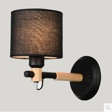 Wall Sconce Modern LED Wall Lights Fixtures Fabric Lampshade For Bedroom Wooden Beside Lamp Arandela Lamparas Pared(China (Mainland))