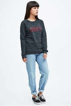 Obey Tie Front Sweatshirt in Grey