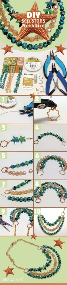 DIY Sea Stars Necklace - easy to make  jewelry, add beach style to your summer fashion.