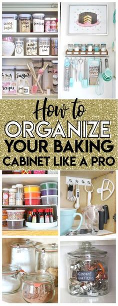 So excited to try these baking cabinet organization ideas to tidy up my cupcake . excited to try these baking cabinet organization ideas to tidy up my cupcake liners, pastry tips and even a way to easily access my cookie trays! Organisation Hacks, Baking Organization, Kitchen Cabinet Organization, Kitchen Organization, Organization Station, Kitchen Storage, Baking Storage, Food Storage, Baking Cupboard
