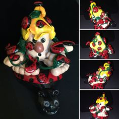 """Large custom ordered Gnome. They asked for """"a lot Of lady bugs and a yellow cap"""". 😊"""