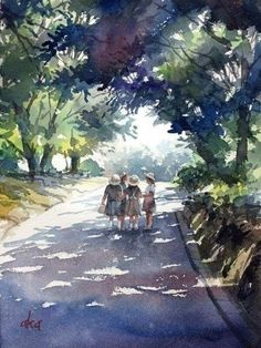 15 Ideas for painting acuarela watercolor Watercolor Scenery, Easy Watercolor, Watercolor Artwork, Watercolor Sketch, Watercolor Artists, Watercolor Techniques, Watercolor Landscape, Landscape Paintings, Landscapes