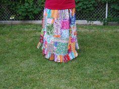 Plus size patchwork hippie skirt