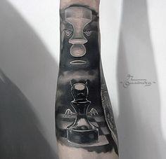 chess war tattoo by Gollandets Art