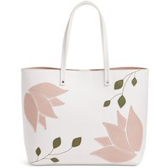Women's Chelsea28 Tulip Applique Faux Leather Tote ($79) ❤ liked on Polyvore featuring bags, handbags, tote bags, white snow, zip top tote, white handbags, white purse, vegan purses and faux leather tote bag