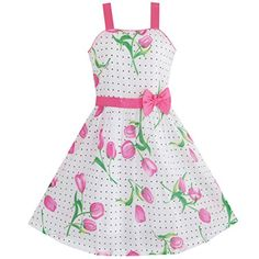 Sunny Fashion Girls Dress Pink Flower Green Leaves Black Dot Bow Tie Size 56 -- Find out more about the great product at the image link.
