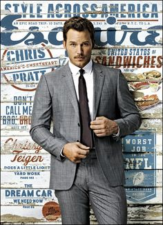 Chris Pratt is so fine in his Burberry London suit on the cover of Esquire magazine's September 2014 issue! NEWS: See more on Chris Pratt Check out the Guardians of the Galaxy actor… Chris Hemsworth, Chris Pine, Christian Bale, Christian Grey, Penelope Cruz, Chris Pratt Interview, Chris Pratt Memes, Christoph Waltz, Anna Faris