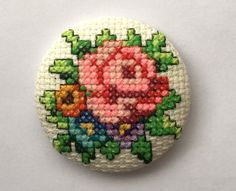 Brooch Vintage Flowers Cross Stitch Unique by COSIMITAS on Etsy