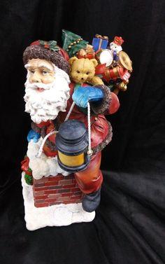 "Christmas Santa in Chimney Decor 14"" Holiday Figurine Figure Tabletop Mantel  #santa  #christmas #christmasdecor"