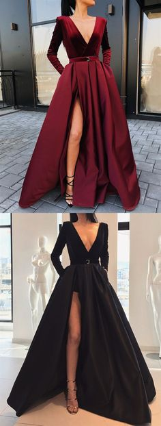 A-Line V-neck Long Sleeves Floor-Length Burgundy Split Prom Dress with Pockets, Shop plus-sized prom dresses for curvy figures and plus-size party dresses. Ball gowns for prom in plus sizes and short plus-sized prom dresses for Split Prom Dresses, Prom Dresses With Pockets, Long Formal Dresses, Homecoming Dresses, Prom Outfits, Graduation Dresses, Dress Long, Wedding Dresses, Party Dresses