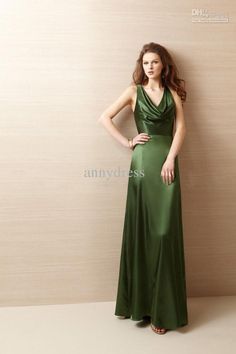 Free shipping, $65.26/Piece:buy wholesale A-line Greens Cowl Neck Open back criss cross Floor-length Handmade customized Bridesmaid Dresses Evening Dresses from DHgate.com,get worldwide delivery and buyer protection service.