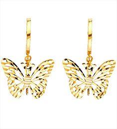 Women Real Yellow Gold Butterfly Diamond Cut Earrings Dangle Hanging by RG&D Hanging Earrings, Women's Earrings, Earrings Online, Gold Diamond Earrings, Charm Rings, Diamond Cuts, Yellow, Women Jewelry, Fashion Jewelry