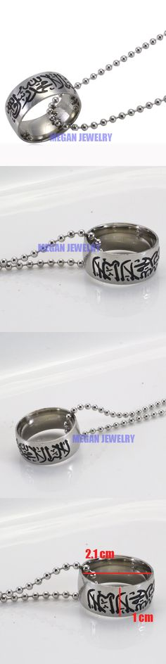 muslim Allah Shahada stainless steel necklace for women men ,60 cm chain islam Arabic God Messager jewelry