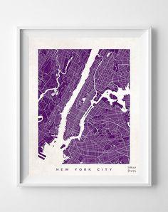 New York Street Map Print Manhattan NY NYC City by InkistPrints