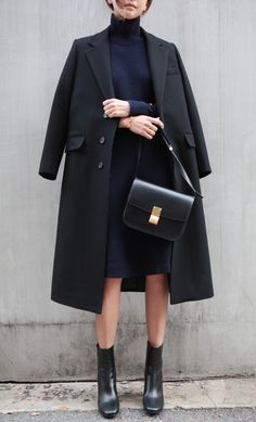 .Love this from head to toe. Gorgeous jacket (fabric and style) Turtleneck of the dress is gorgeous as is the color. Boots I love and the bag is clean and simple.
