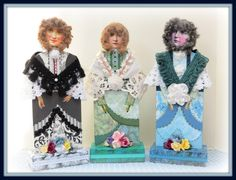 Linda Walsh Originals Dolls and Crafts Blog: A Beautiful Trio Of Mixed Media Victorian Collage Art Dolls - Meet Catherine, Chelsea, and Camille