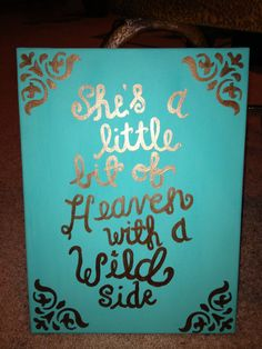 """She's a little bit of Heaven with a wild side"" canvas painting! Little Presents, Little Gifts, Diy Canvas, Canvas Art, Canvas Ideas, Canvas Crafts, Canvas Paintings, Art Projects, Projects To Try"