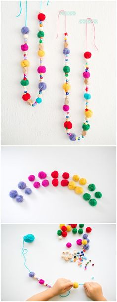 DIY Beaded Felt Garland. Learn how to make felted balls with the kids and turn them into this bright and colorful beaded felt garland.
