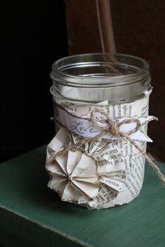 Glass Mason Jar Vase with Vintage Book Pages and by MamaBirdDecor, $8.00