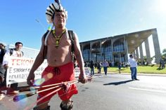 Indigenous groups protest the spending of large amounts of money on the World Cup in Brazil's capital.
