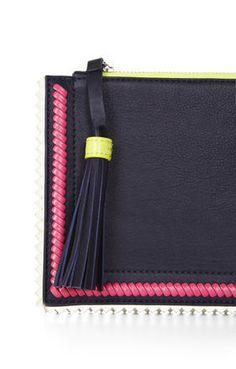 Carissa Leather Whipstitch Detail Ziptop Clutch - bcbg