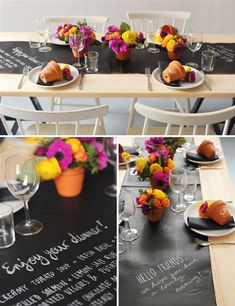 Chalkboard table runner Chalk It Up: 40 Creative Ways to Use Chalkboard Paint via Brit + Co. Chalkboard Paint Projects, Chalkboard Table, Chalkboard Ideas, Chalkboard Vinyl, Chalk It Up, Chalk Art, Table Accessories, Deco Table, Table Runners