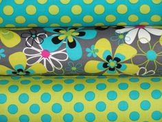 Michael Miller Fabric, Full Yard Bundle, Far Out Floral and Ta Dot, 3 Yards Total. $24.00, via Etsy.