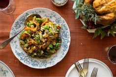 Brussels sprouts with delicata squash, currants, and hazelnuts