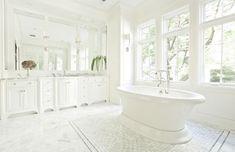 White Master Bathroom - Transitional - bathroom - PLD Custom Homes Custom Home Builders, Custom Homes, Bathroom With Makeup Vanity, White Master Bathroom, Master Bathrooms, Transitional Bathroom, Bath Tub, Bathroom Inspiration, Play Houses