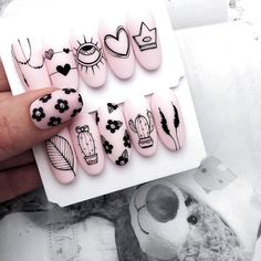 We love nails! Nail Manicure, Diy Nails, Cute Nails, Pretty Nails, Glitter Nails, Disney Acrylic Nails, Best Acrylic Nails, Nail Drawing, Nail Art Designs Videos