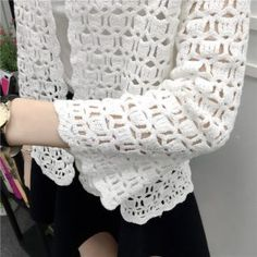 Camisas Mujer 2017 Spring Summer Crochet White Lace Blouse Women Fashion Tops Sexy Hollow Out Knitted Cardigan Chemise Femme 7 Blouse Au Crochet, Gilet Crochet, Crochet Cardigan Pattern, Crochet Jacket, Crochet Shawl, Crochet Stitches, Crochet Patterns, Pull Crochet, Diy Crochet