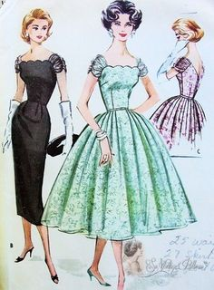 1950s Cocktail Evening Party Dress Pattern McCalls 4357 Vintage Sewing Pattern Gorgeous Scalloped Neckline Shirred Sleeves Full Skirt or Slim Sheath Styles Pure Glam Very Liz Taylor Bust 32