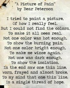 Describes the feeling of what having  Fibromyalgia is like - plus Depression!