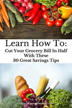 The average family of four spends $800 on grocery and household products a month. Let's face it food is expensive and the larger your family the more you are spending. Well it is time to change your grocery shopping strategy and SAVE more money on groceries.  Cut your grocery bill in half with these 30 great savings tips.