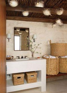 A Laguna Beach Retreat Becomes a Rustic and Refined Family Getaway - Architectural Digest Beach Bathrooms, Small Bathroom, Basement Bathroom, Modern Bathroom, Bathroom Storage, Bathroom Interior, Bathroom Baskets, Design Bathroom, Bathroom Ideas