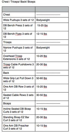 2 days splits for weights--day 1 is chest/back/triceps/biceps & day 2 is legs & shoulders.