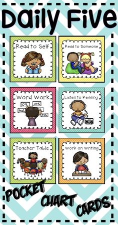 Manage Daily Five in your classroom with these cute cards.Includes Cards for: Read to Self, Read to Someone, Work on Writing, Listen to Reading, Word Work Teacher Table, Smartboard, iPad, Computer.