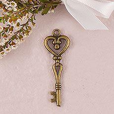 Antique Key Charm Style 2 - Heart Shape