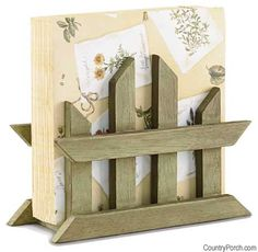 The Country Porch features the Gardener's Journal Napkin Holder from Park Designs. Small Wood Projects, Scrap Wood Projects, Projects To Try, Modern Napkin Holders, Wood Napkin Holder, Modern Napkins, Rustic Napkins, Bois Diy, Wood Scraps