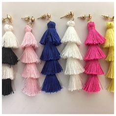 Statement making Fringe Drop Tassel Earrings are a MUST have for Summer! Whether these help you take a small step out of your comfort zone or they just up your alley you won't be wrong! These are everything with a plain white T or your Summery embroidered dress!. Available in 8 Colors - Pink - Light Pink - Blue - White - Yellow - Black/White - Black - Mint