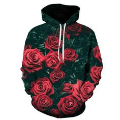 5667656171eb Fashion Rose Printed Hoodie With Hat – Lolayalls Red Rose Flower, Red  Flowers, Red
