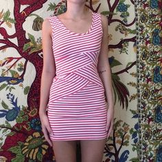 Pink&White Stripped Dress Bodycon. Super comfy. Hits mid-thigh. Worn a few times. In perfect condition. Dresses