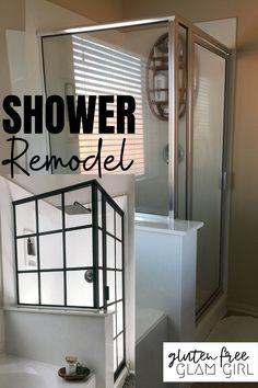 Diy Bathroom Remodel, Bathroom Renovations, Bathroom Makeovers On A Budget, Diy Shower, Shower Ideas, Shower Makeover, Door Makeover, Up House, Tiny House