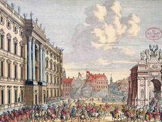 Der Schlossplatz im Jahr 1701 anlässlich des Einzugs des frischen Königs in Preußen, im Vordergrund die Ehrenpforte der Stadt Cölln