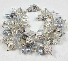 Charm Bracelet ~ SNOW SHADOWS ~ Swarovski Crystal, Akoya & CF Pearls, Fine Silver, Sterling Silver